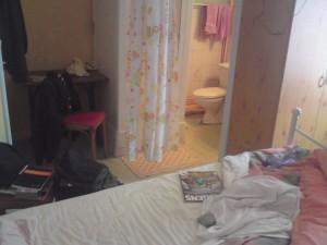 En toalett och dusch med draperi som dörr. Trevligt!